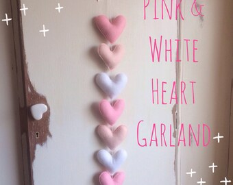 Pink & White Heart garland