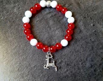 Bracelet elastic stones beads semi precious natural Jade