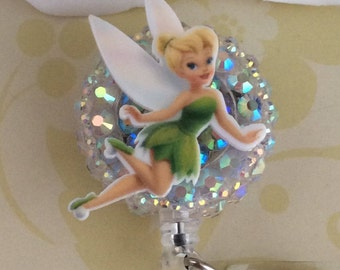 Rhinestone Tinkerbell Retractable ID Badge Reel, Nurse Badge Reel