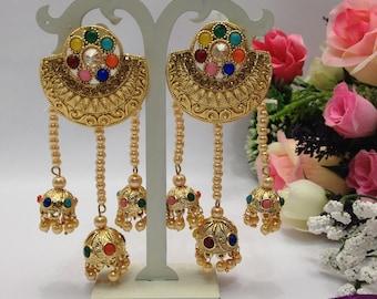 Handmade Party Wear Earrings Indian jewelry Pakistani Bollywood Style Earrings indian jewellery
