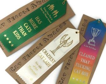 Cat Lady Ribbon | Cat Lady Gift | Fun Gift | Trophy | Merit Badge | Award | Winner Ribbon | Mothers Day Gift