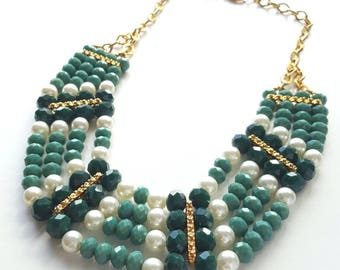Up-cycled Vintage Bib Statement Necklace (Gold)
