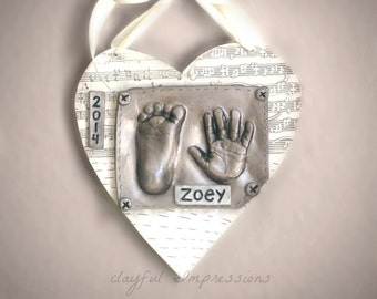 Hand and Foot Print Ceramic Plaque for Newborn Baby Gift - Personalized Handprint Keepsake Gift - Gift For Expecting Mom - Baby Print Decor