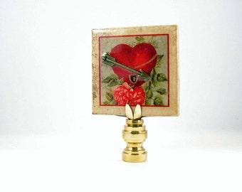 Valentine Lamp Finial Ceramic Tile. Heart, Arrow, Flowers. Lampshade Finial (V5)