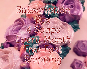 Subscription monthly box/subscription box soaps/gift/ gift set of soaps/4 soaps every month
