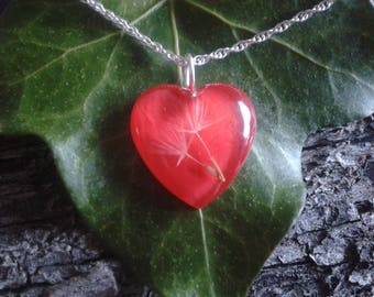 Heart necklace, resin pendant, silver necklace. Dandelion Necklace, custom necklace, handmade jewelry, original necklace, woman gift