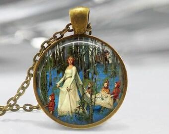 Pre Raphaelite Painting Pendant, Portrait Painting Pendant, Old Master Necklace, Bride Art Jewelry, Bronze, Silver, Portrait Pendant 345