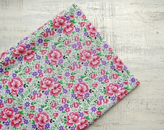 Vintage cotton fabric white pink green floral 2.2 yards in 1 listing boho fabric