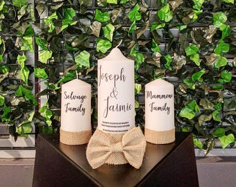 Wedding Candle, Wedding Candles, Unity Candles, Church Candles, Rustic Candles, Rustic Wedding, Wedding Candle Set, Hessian, Country Wedding