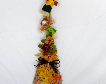 Scarecrow and Autumn Leaves Wall Hanging Broom Decor