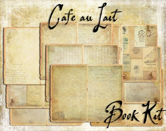 Digital Paper Pack Cafe au Lait Book Kit  downloadable printables