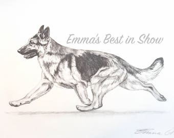 "Original Graphite Pencil Custom Pet or Dog Portrait on 11""x14"" Paper One or Two Pets Per Drawing Made to Order Fine Art by Emma Tinklenberg"