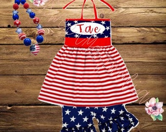 Personalized July 4th Stars and Stripes Boutique Outfit