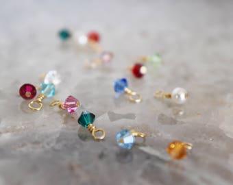 Add a tiny, gold wired bicone Swarovski charm // gold wired Swarovski charm // birthstone charm // bicone charm // birthstone crystal