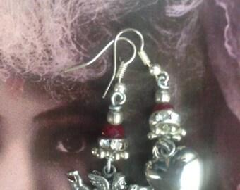 Heart Earrings, Cherub earrings, Romantic jewelry, upcycled, Heart jewelry, Silver cherub earrings, handmade, Victorian, Cupid, love,