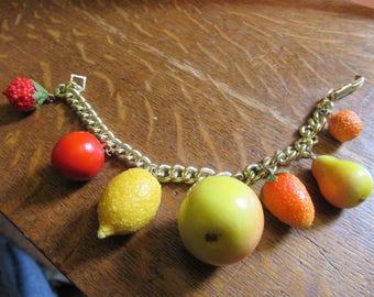 Gorgeous Vintage 50's Fruit salad, Tutti Frutti Charm Bracelet. Rockabilly.