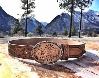 hand tooled leather belt & buckle