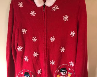 """Bobby Brooks Women Vintage Ugly Tacky Christmas Sweater Embroidered Snowmen and Snowflakes""""Santa Hoodie""""  Women's S 4-6"""