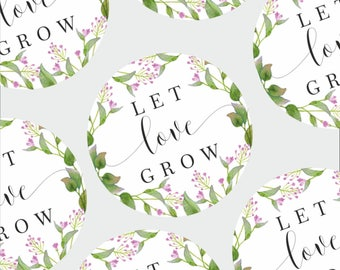 Let Love Grow Stickers Wedding Favor Stickers Seed Packet Labels Save the Date Stickers Wedding Watercolour leaf printed wedding stickers