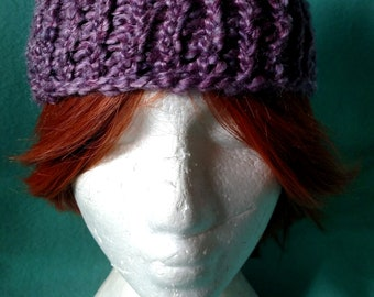 Knitted Hat Fluffy Purple for Adults