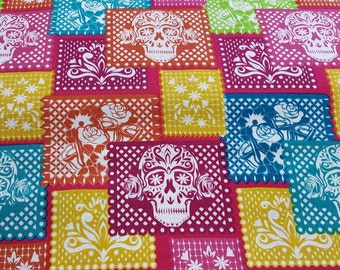 100% cotton Quilting fabric by the 1/2 yard skulls Dia de los muertos, vibrant nice design by David.  Day of the dead flag folklore
