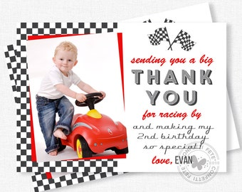 Race Car Thank You, Photo Thank You Cards, Racing Party Thank You Notes, Boy Birthday Thank You, Personalized
