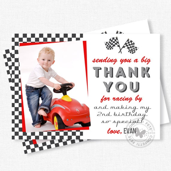 Race car thank you photo thank you cards racing party thank race car thank you photo thank you cards racing party thank you notes boy birthday thank you personalized bookmarktalkfo Image collections