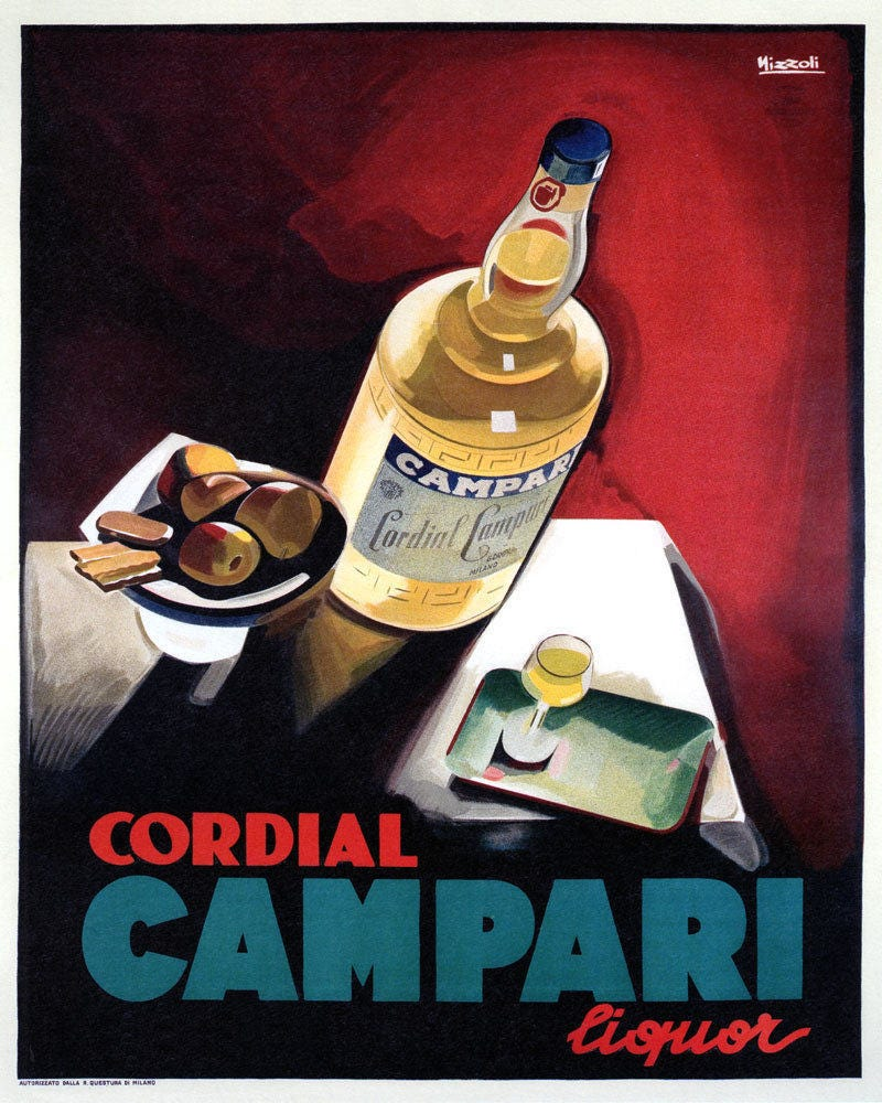 Bar 16 X 20 Glass of Cordial Campari Liquor Drink