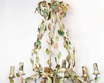 1800s Massive Incredible Pastel French Tole Chandelier Paris France Hotel Europe
