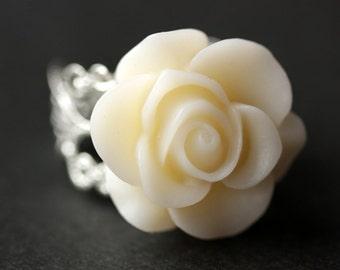White Rose Ring. Eggshell White Flower Ring. Gold Ring. Silver Ring. Bronze Ring. Copper Ring. Adjustable Ring. Handmade Jewelry.