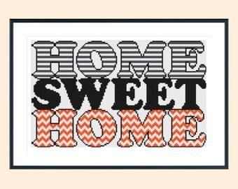 Cross stitch pattern, modern cross stitch pattern, home sweet home cross stitch pattern, chevron design, instant download