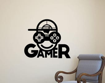 Gamer Wall Decal Video Gaming Gamepad XBox PS Playroom Vinyl Sticker Home Room Boy Bedroom Decor Nursery Poster Art Mural Custom Print 91