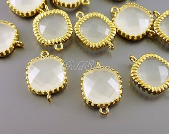 2 square shape white opal glass connectors, perfect for brides, bridesmaids, wedding jewelry 5140G-WO