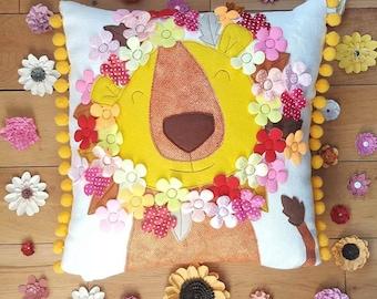 Lion Cushion - Flower Power - Retro scandi Cushion pillow
