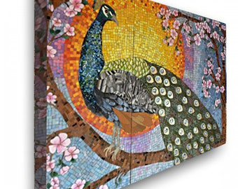 Peacock Mosaic Canvas wrap Print