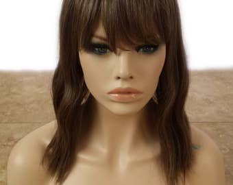 Forever Young Indie Waves Wig (Golden Brown) | HEAT SAFE Natural Hair | Short Wavy Bob Wig with Bangs | Similar to Human Hair