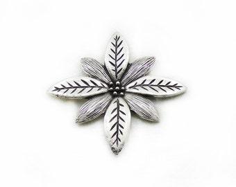 61mm Flower Pendant, 1pc Flower Pendant, Large Pendant, Metal Pendant, Jewelry Making, DIY Pendant, Antique Silver Pendant