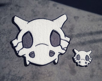 """Discounted Set Both Chenille Cubone Skull Pokemon Inspired 10"""" Back Patch & 3"""" Patch 