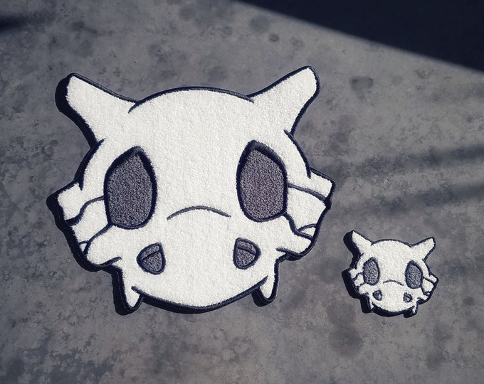 "PREORDER - Discounted Set Both Chenille Cubone Skull Pokemon Inspired 10"" Back Patch & 3"" Patch 