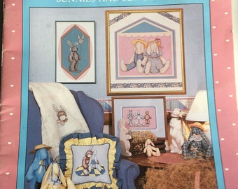 Vintage Alma Lynne Designs Counted Cross Stitch, Bunnies and Sew Forth, 80's Bunnies, Vintage Cross Stitch Booklet