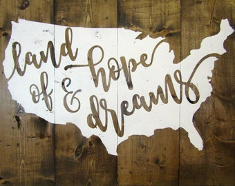 Land of Hope & Dreams Sign / Hand Painted Wood Sign / Home Decor / Rustic Decor / Wood Sign / Wall Decor / Distressed