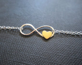 Infinity heart bracelet,Infinity bracelet,Infinity love for Mom,Bridesmaid gift,sterling silver infinity bracelet
