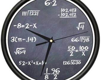 Math Class 1 Wall Clock Black Chalkboard Mathematics Teacher Classroom Gift