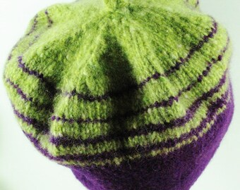 Hat - Bright Green and Purple Felted Beret with Brim
