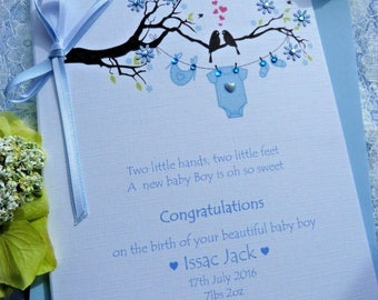 Personalised Birthday New Baby Boy Congratulations Card.. Washing Line