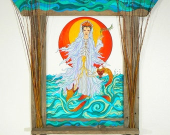 Kuan Yin  Large Shrine with Framed Giclee Fine Art Print Illustration - Free Shipping
