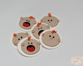 12x Baby Faces Edible Cupcake Toppers
