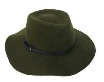 Floppy Fedora Hat  / Green Navy Fedora Hat / Womens Hat / Mens Fedora Hat / Felt Fedora / Loosy Hat