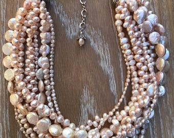 EXCEPTIONAL Multistrand Assorted Pink FRESHWATER PEARL Adjustable Necklace