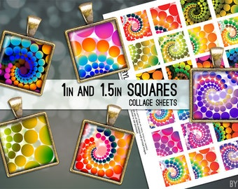 Psychedelic Retro Dots 1x1 Inch Squares and 1.5 Inch Squares Digital Collage Sheet Images for Glass Resin Pendants JPG Q0001 S0001 1 Inch